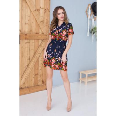 Коротенькое домашнее платье в цветочным принтом