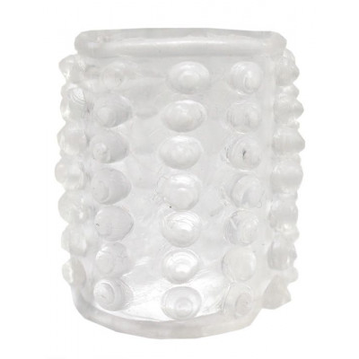 Прозрачная сквозная насадка на фаллос с пупырышками - 4 см.