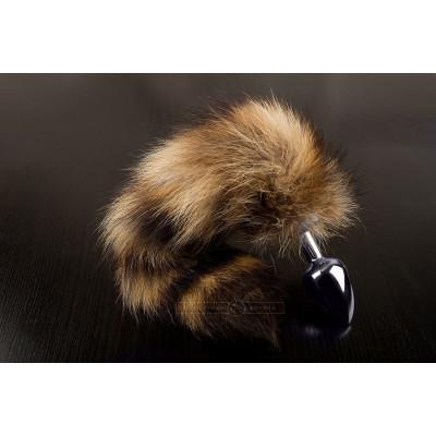 Маленькая анальная пробка с пушистым хвостом енота - 6 см.