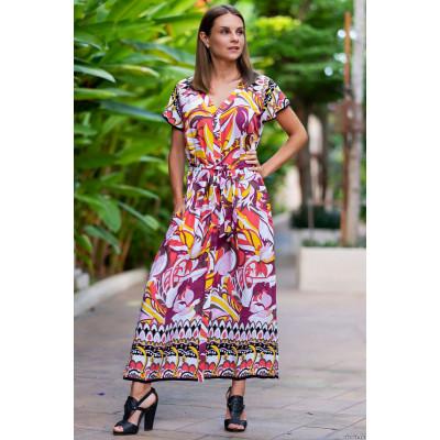 Длинное пляжное платье-рубашка на пуговках